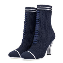 2017 autumn and winter new knitted stretch boots Socks boots Round head High heel women boots damski boty Tacones Mujer