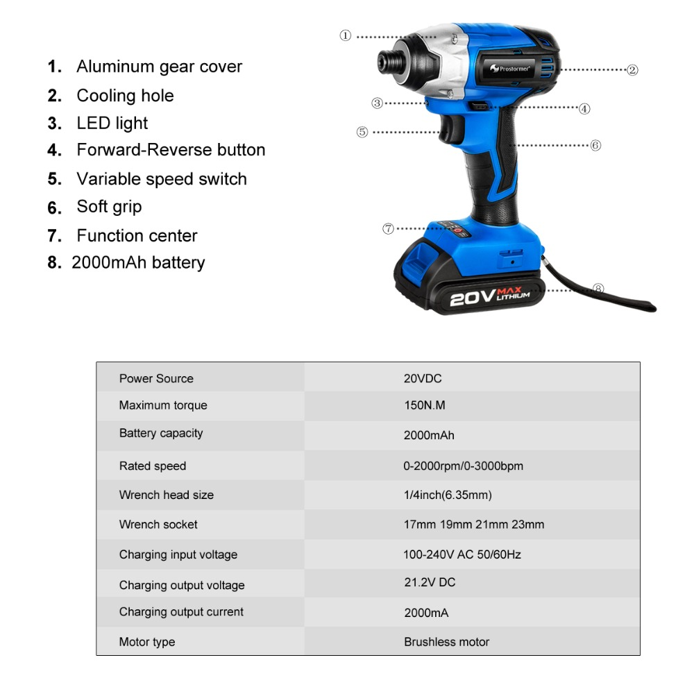 Image 2 - PROSTORMER 20V Electric Screwdriver Brushless Cordless Screwdriver Impact Drill 300NM Tool Bag Variable Speed Rechargeable Drill-in Electric Screwdrivers from Tools on
