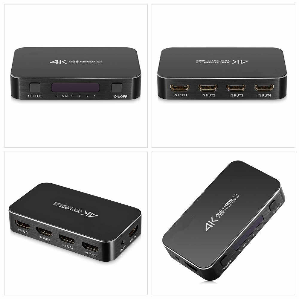 2020 navceker hdr hdmi 2.0 hdmi switch suporte hdcp 2.2 & ir remoto 1x4 mini interruptor hdmi switcher 18 gbps hdmi switch 2.0 hub caixa