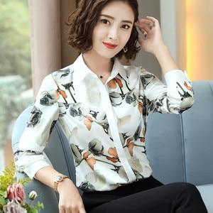Image 4 - Mode Rose imprimé chemise femmes printemps nouveau tempérament à manches longues en mousseline de soie blouse bureau dames personnalité grande taille hauts