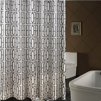 Brand New PEVA Bathroom Curtain Luxury White And Black Hollow Square Mould Resistant Waterproof Bath Shower