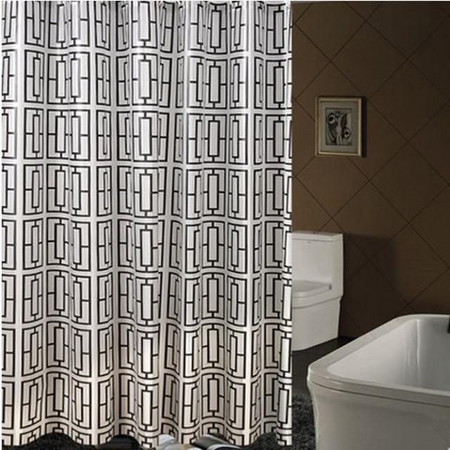 Brand New PEVA Bathroom Curtain Luxury White and Black Hollow Square ...