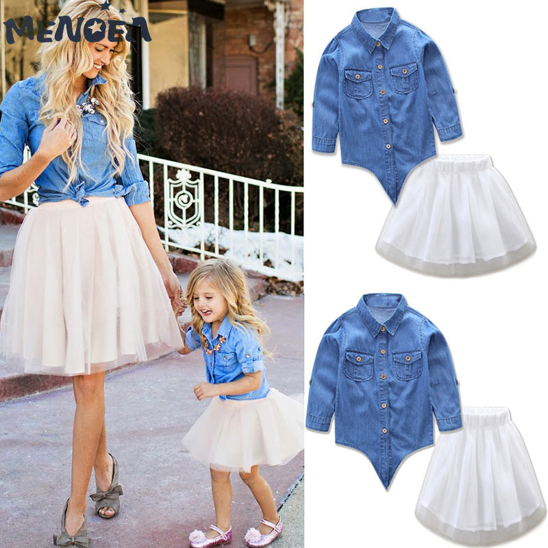 Menoea Household Matching Outfits New Lady Gown Set Household Matching Units Mom & Daughter Gown Set Demin High+Tutu Gown