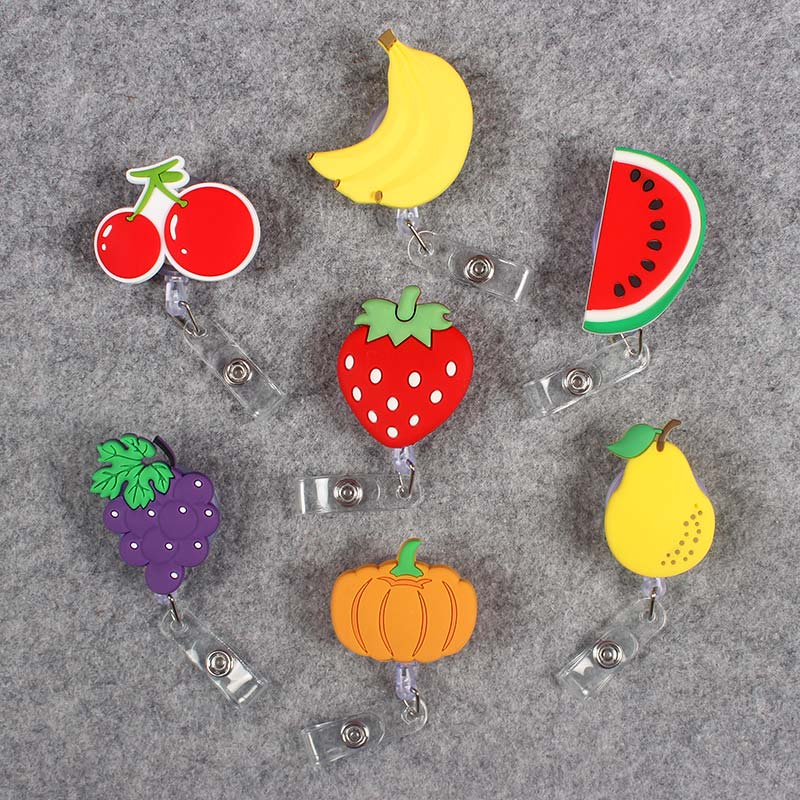 Creative Vegetables And Fruits Retractable Badge CardHolder Reel Nurse Girl School Students Exhibition Enfermera Name Card Chest