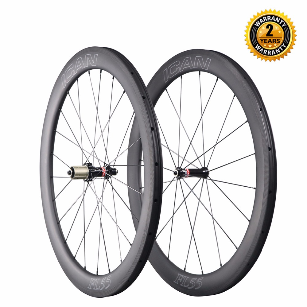 Hot sale carbon fiber bicycle wheel 700c road bike carbon wheels 55mm clincher tubeless 1508g ultra light carbon wheelset 2017 limited promotion bike wheels full carbon fiber wheels road bike 40mm 700c rim front 20 holes rear 24 wheelset hot sale