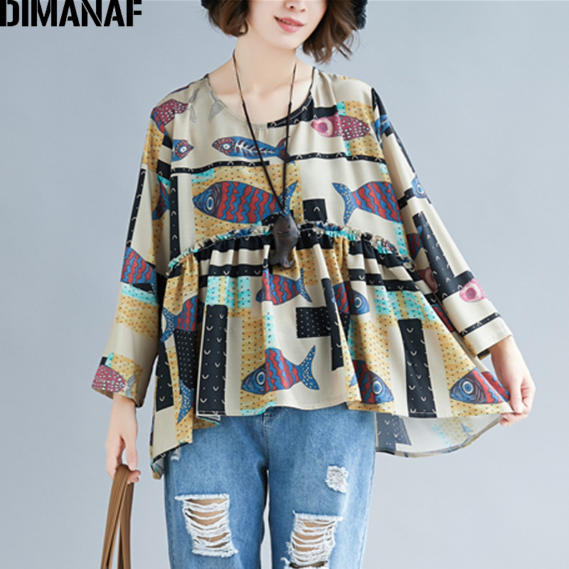 DIMANAF Plus Size Women   Blouse     Shirts   Cotton Summer Lady Tops Spliced Print Cartoon Big Size Tunic Female Loose Casual Clothing