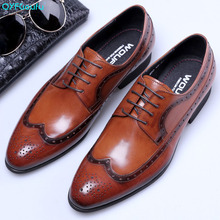 QYFCIOUFU 2019 Vintage Handmade Patined Genuine Leather Shoe Lace Up Wedding Dress Office Party Designer Mens Oxford Shoes
