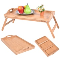 Portable Bamboo Breakfast Bed Tray W/ Handle Fruit Food Cake Coffee Tea Kitchen Storage Trays Desk Table HW52608