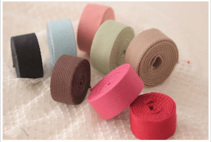 9 colors 25mm x1.8mm Medium Heavy weight cotton webbing 1'' cotton tape black/coffee/khaki/red bag belt DIY free shipping 5m