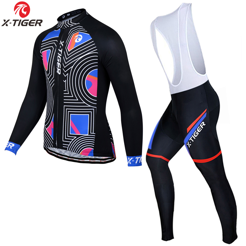 X-Tiger Long Sleeve Thermal Fleece Cycling Jersey Set Winter MTB Bicycle Clothes Maillot Ropa Ciclismo Invierno Bike Clothing black thermal fleece cycling clothing winter fleece long adequate quality cycling jersey bicycle clothing cc5081