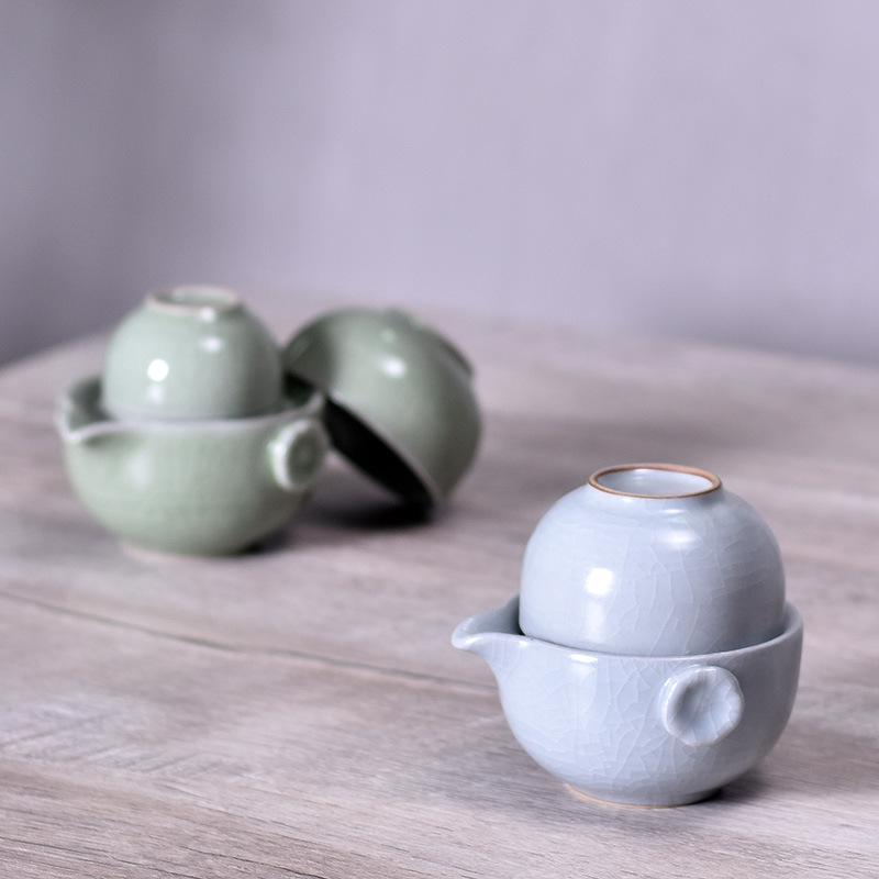 Chinese Kung Fu Tea Set Green Ceramic Portable Teapot Set Outdoor Travel Gaiwan Tea Cups Of Tea Ceremony Teacup Family Home Gift