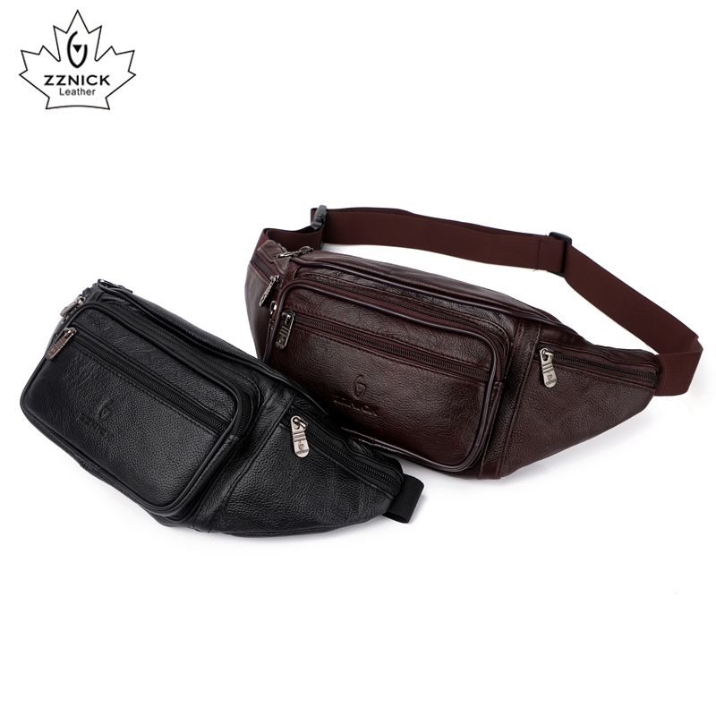 Image 3 - Genuine Leather Waist Bag men Waist Pack Waist Bag Funny Pack Belt Bag  Men Chain Waist Bag For Phone Pouch  Bolso ZZNICK-in Waist Packs from Luggage & Bags