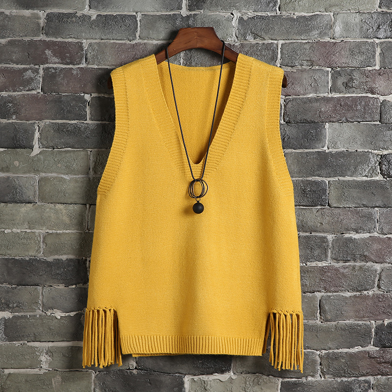 Casual Women Girls Lady Spring Autumn V-neck Solid Color Tassel Waistcoat Female Student Knitted Sleeveless Sweater Loose Vest