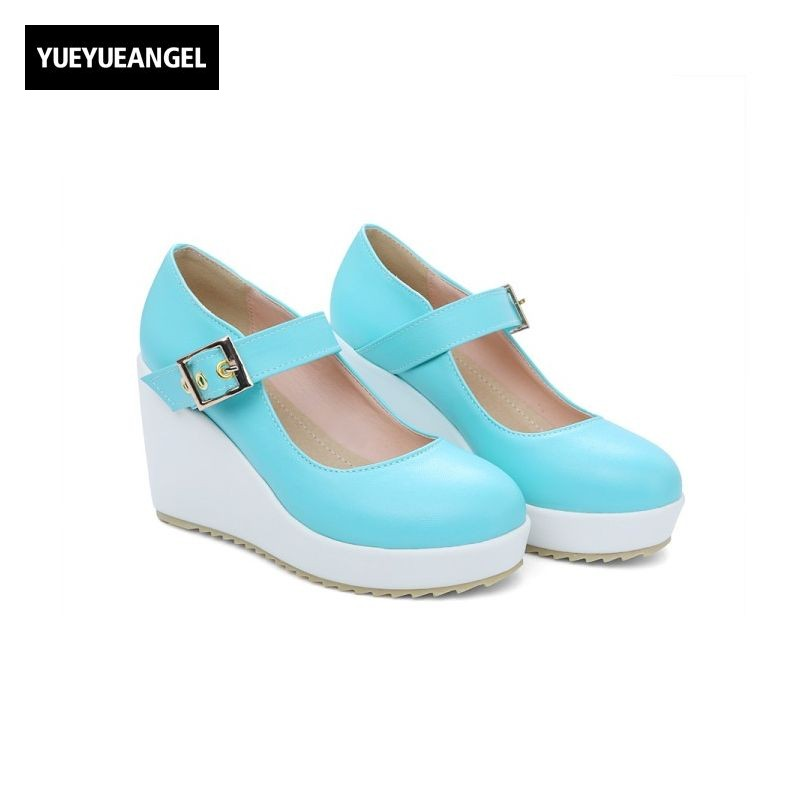 Buckle Round Toe Pu Leather Shoes Women Fashion New Platform Pumps Female Footwear Plus Size Sweet Elegant High Heel Wedges new 2017 spring summer women shoes pointed toe high quality brand fashion womens flats ladies plus size 41 sweet flock t179
