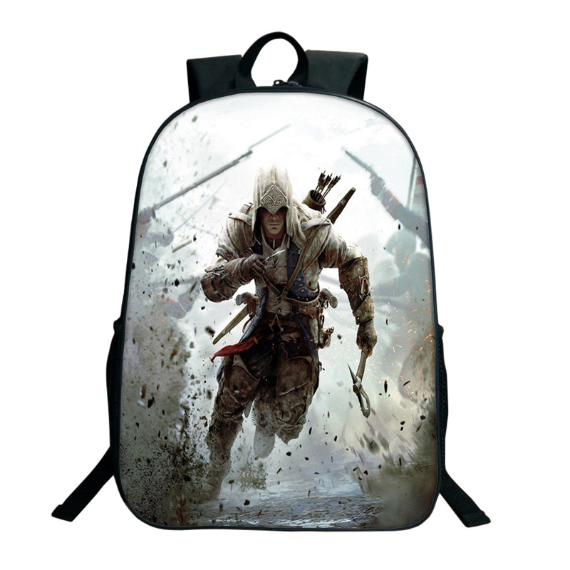 16 Inch Assassin's Creed Backpack For Teenagers Nylon Kids School Bags Children  Boys Double Assassins Creed Backpacks Daily Bag assassins creed cosplay backpack men school bags official assassins creed syndicate logo school backpacks bag rucksack