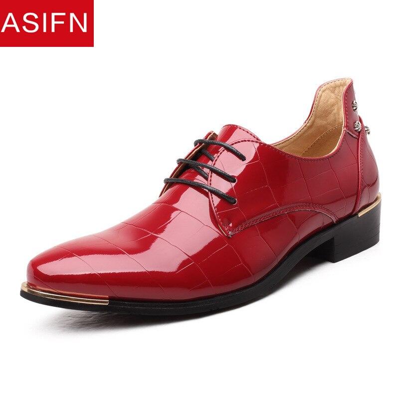 rouge Brevet Cuir bleu Oxford Décontractée En Chaussure Mariage Club Homme Hommes Brillant Mâle Mocassins De Noir Asifn Pour Chaussures Party Sqx8wHWU