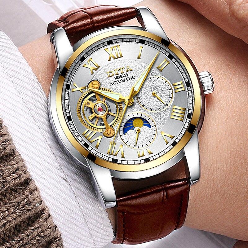 Мужские механические часы Скелет Наручные часы лучший бренд класса люкс Montre Homme geniune кожаный ремешок Relogio Masculino
