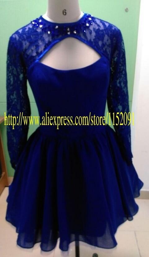 603edfa7ca De manga larga de encaje corto vestidos fiesta 2016 Sexy Slot espalda  abierta barato azul marino con encanto corto Prom cóctel vestido de fiesta  en Vestidos ...