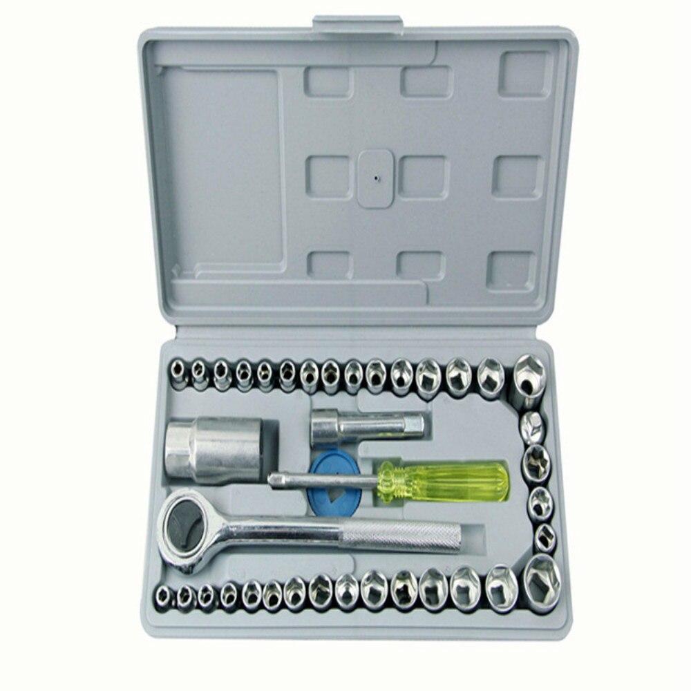 Multi Function Hardware Tools 40PCS Set Socket Wrench Set Auto Repair 45# Steel Durable Motorcycle Vehicle Repair Tool Kit
