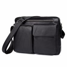 Genuine Leather Men's Shoulder Bag Simple Design Classic Crossbody Bag Vintage Fashion Flap Bag 1044A