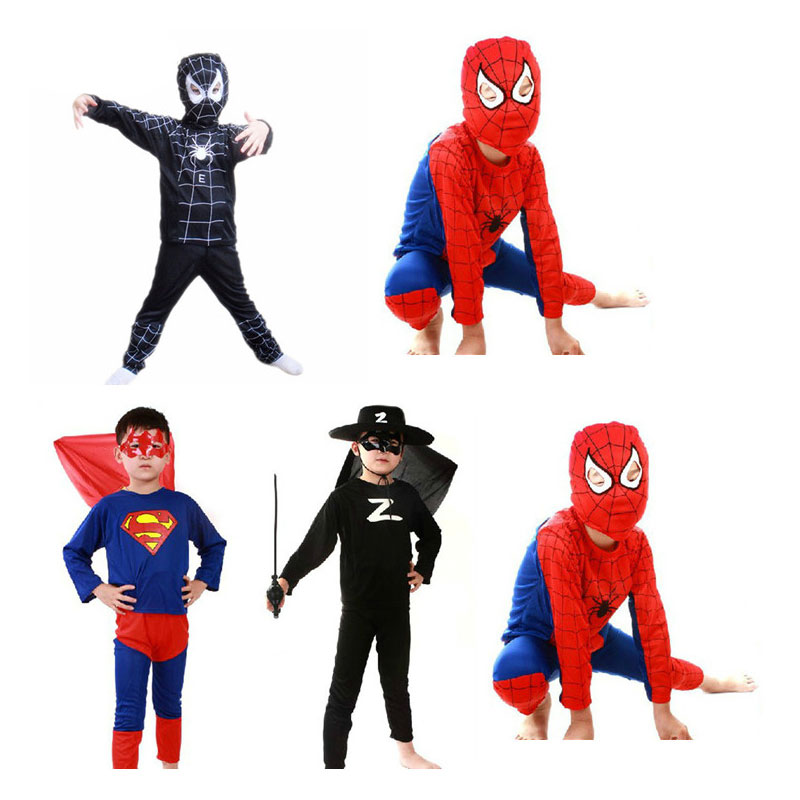 Red Spiderman Costume Bat Black Spiderman Superman Zorro Halloween Costumes For Kids Superhero Capes Anime Cosplay Carnival Cost