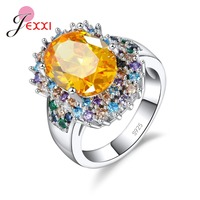 JEXXI Romantic Colorful Clear Crystal Finger Rings 925 Sterling Silver Jewelry For Women Wedding Christmas Gift