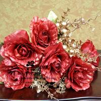 Fashion artificial flower seabuckthorn rose artificial flower rose silk flower home decoration flower