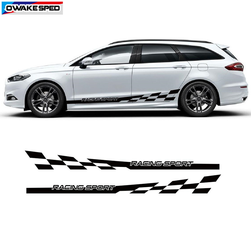 WHITE Sport Flag Side Stripe Decal Sticker Vinyl Racing Stripe Car graphic
