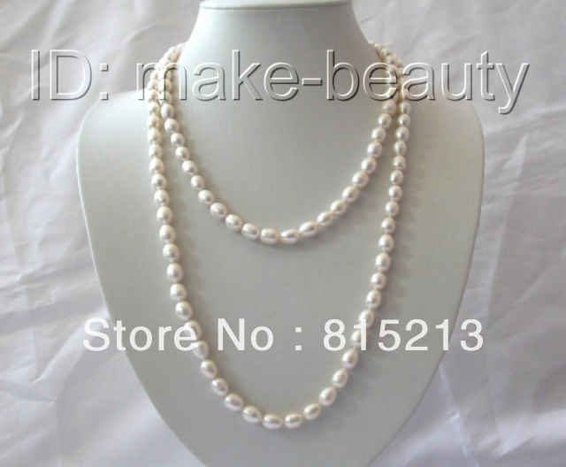 "DYY N213 stunning long 45"" 9mm baroque white freshwater cultured pearl necklace % Discount AAA"