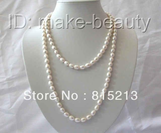 "Dyy n213見事なロング45 ""9ミリメートルバロック様式の白い淡水養殖真珠ネックレス%割引aaa"