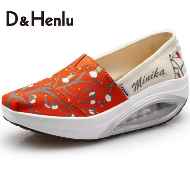 {D&H}Air Cushion Soles Cartoon Print Swing Wedges Casual Shoes Women Platform Lady's Canvas Shoes Women's Vulcanize Shoes