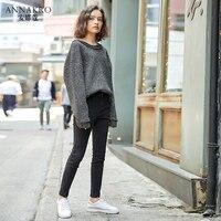 Осень 2018 г. Новый темно серый высокая талия зауженные джинсы для женщин Повседневное удобные мотобрюки ANNAKRO