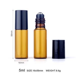 Image 2 - 100 шт./лот 5 мл мини рулон бутылок для эфирного масла многоразовая бутылка с роликовым шариком, коричневая стеклянная бутылка, аналогичные бутылки