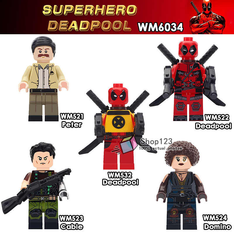 Single Sale Movie Deadpool 2 Super Heroes  Domino Cable Peter Armed Deadpool Building Block Children Toys Gifts WM6034