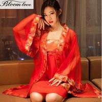 E503 Sexy Albornoz Rojo Sexo SM Uniformes Kimono Adultos Sexy Vestido de Dormir Camisón Sexy Lencería Nupcial de La boda de La Muñeca