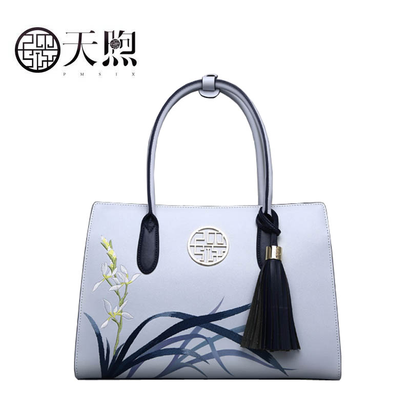 Pmsix 2019 New Women Leather bag quality handbags Fashion tassel embroidered bag Luxury Cowhide tote women leather shoulder bagPmsix 2019 New Women Leather bag quality handbags Fashion tassel embroidered bag Luxury Cowhide tote women leather shoulder bag