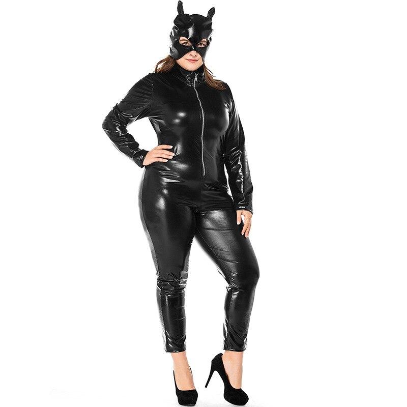 umorden karneval party halloween kostume erwachsene frauen leder katze dame catwoman kostum catsuit overall jacke plus grosse xxxl