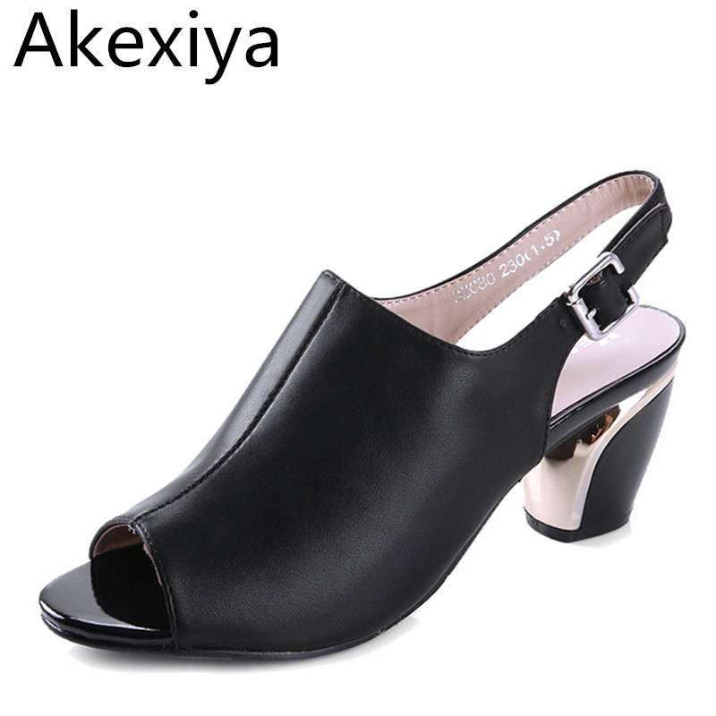 Akexiya Women Summer Sandals Peep-toe Solid PU Leather Med High Heels Shoes Buckle Square Heel Pumps Spring Size Plus 35-40 women genuine leather sandals fashion pointed toe causal shoes buckle solid color black pink orange spring shoes square heel
