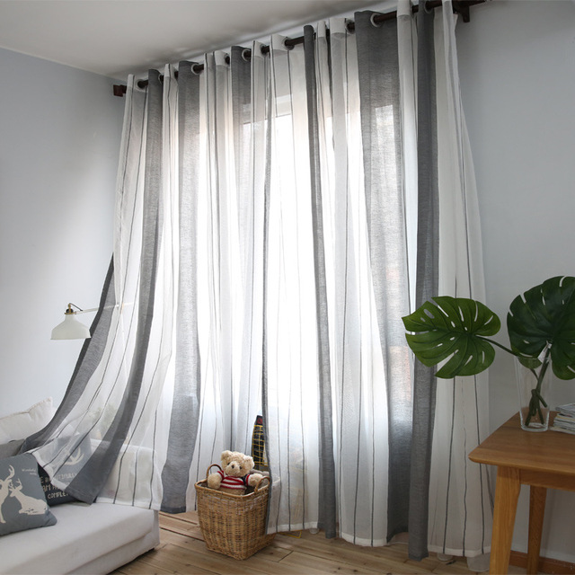 Sunnyrain 1 Piece Linen Cotton White Grey Striped Sheer Curtain For Living Room Translucidus Tulle