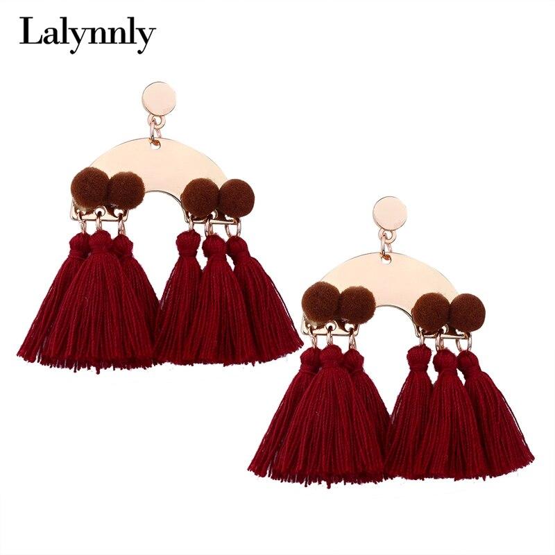 Lalynnly Red Statement Tassel Earrings Pom Bohemian Tassel Fringe Earrings for Women Ethnic Bohemian Jewelry Earrings E17731