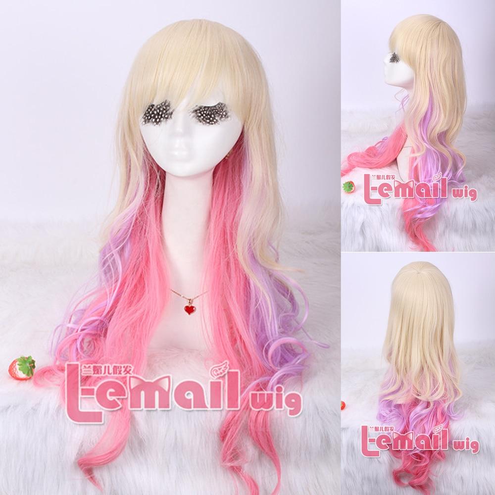 Free Shipping 70cm Women Long Curly Wavy Blonde Pink Purple Gradient Ombre Wig k19 16inch wavy purple gradient light