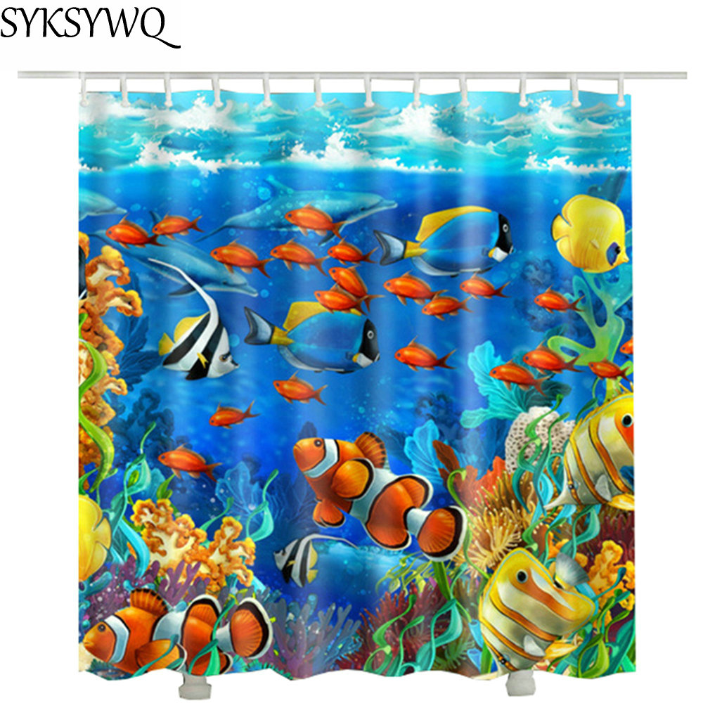 The underwater world fish shower curtain fabric waterproof polyester wholesale drop shipping Seaweed bathroom curtain