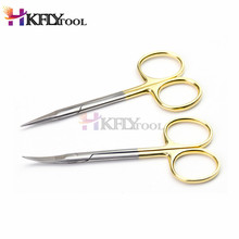 9,5 см изогнутая головка, обычные медицинские хирургические глазные ножницы, ножницы для красоты, ножницы для мягких тканей, инструмент высокого качества