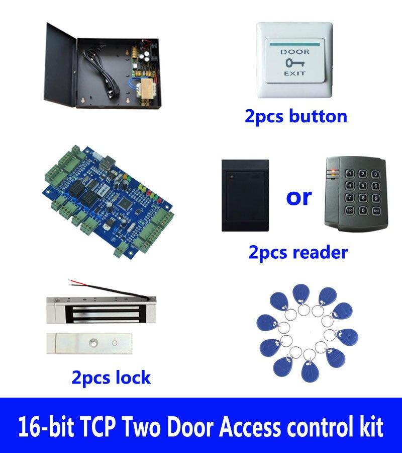 D'accès RFID kit, TCP deux porte de contrôle d'accès + powercase + 180 kg serrure magnétique + ID lecteur + bouton de sortie + 10 ID tags, sn: kit-B203