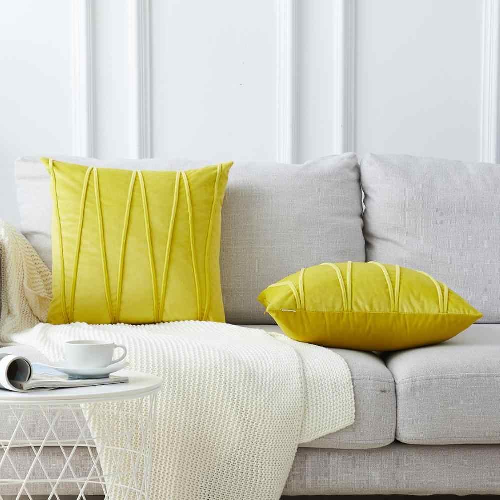 Topfinel Lembut Mewah Beludru Bergaris Sarung Bantal Warna Solid Dekorasi Melempar Bantal untuk Home Sofa Dekorasi Kursi 45X45 CM