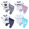 Male child summer all-match casual set 2016 children's clothing baby child cartoon casual twinset short-sleeve + pants