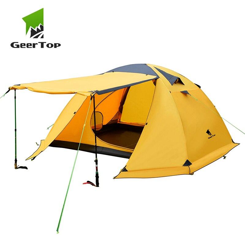 GeerTop палатка для кемпинга 4 человека 4 сезон человек уличный рюкзак палатка водонепроницаемый ветрозащитный алюминиевый полюс для туризма п