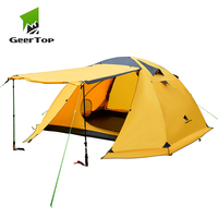GeerTop Camping Tent 4 Person 4 Season Man Outdoor Backpacking Tent Waterproof Windproof Aluminum Pole for Hiking Travel Winter
