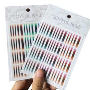 Image 5 - 1 sayfalık degrade çizgili renkli çizgiler 3D Nail Art Sticker yapışkanlı çıkartma japon tırnak aksesuarları tırnak süslemeleri 2019