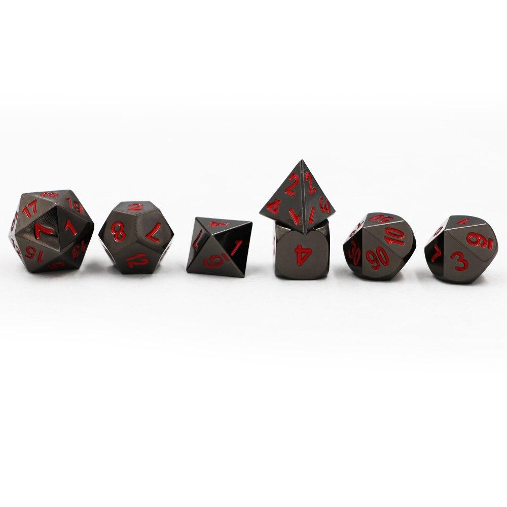 Dungeons & Dragons 7 pcs/ensemble Creative RPG Dice D & D En Métal Dés MDN placage Nickel Noir Rouge Police D4 D6 D8 D10 D12 D20